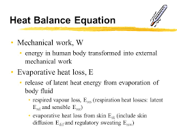 heat balance equation mechanical work w evaporative heat loss e