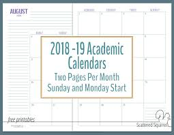 Printable School Year Calendars More Dated Academic Calendars Scattered Squirrel