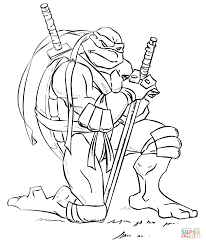 Leonardo From Ninja Turtles Coloring Page Free Printable Inside