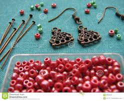 red beads and pieces for making earrings handmade jewelry stock