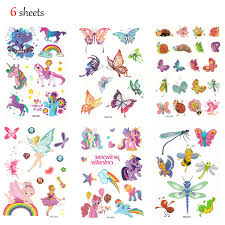 Hippomee Temporary Tattoo For Kids 6 Sheets Glitter Tattoo Stickers For Children Kids Girls Boys Unicorn Butterfly Animals Creatures Tattoos Party