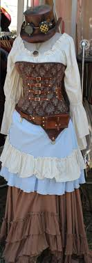 Light Blue Steampunk Dress Steampunk Brown And Light Blue Corset Large By