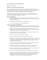 Stunning Sales Associate Duties And Responsibilities Resume Job