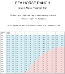 Height And Weight Chart Height Weight Restrictions Horseback Riding Sea Horse Ranch