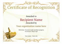 Certificate Recognition Certificate Of Recognition Use Free Templates By Awardbox