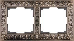 <b>Рамка</b> на 2 поста <b>Werkel Antik</b> WL07-Frame-02 бронза