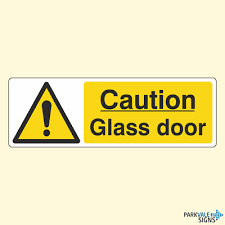 caution glass door signs