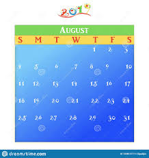 August Theme Calendar August A Monthly Calendar For Year 2019 Stock Illustration