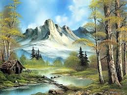 peaceful landscape paintings by bob ross bob ross oil paintings mountain cabin 26
