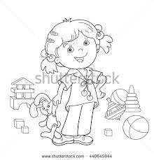 Small Picture Coloring Page Outline Cartoon Girl Toys Stock Vector 440645944