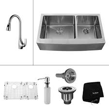 kraus all in one farmhouse a front stainless steel 36 in double bowl kitchen sink