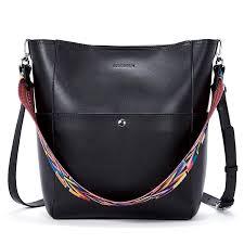 com bromen women leather handbag designer hobo shoulder bag cross bucket purses shoes