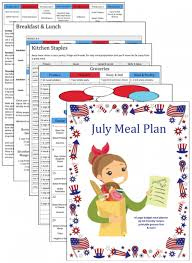 Weekly Meal Plan Stunning Budget Meal Plan July 44 Mom's Bistro