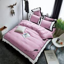 princess home textile pink bedding sets duvet cover bed sheet pillowcase 3 embroidery black lace edge bedclothes twin queen bedding sets clearance