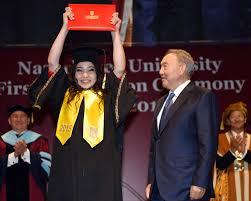 Участие в церемонии вручения дипломов студентам первого выпуска  Нурсултан Назарбаев
