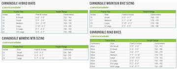 Cannondale Road Bike Size Chart 10 Cannondale Bikes Size Guide Mountain Bike Frame Size