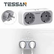TESSAN Mini Alargador Enchufe Thông Minh Ổ Cắm Điện Cắm 2 Cổng Ra Và 2 USB  EU Cắm Sạc USB Ga Nhà/văn Phòng/Du Lịch|Plug With Socket