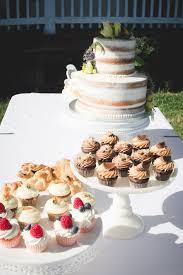2 Tier Naked Wedding Cake With A Lemon Custard Mini Cupcakes Pie