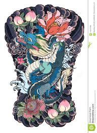 японская старая татуировка дракона для руки вручите вычерченного