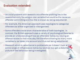 creating a profile ppt  24 evaluation extended an initial problem research into offender profiling