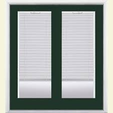 primed steel left hand inswing full lite glass active stationary patio door w blinds h37797 the home depot
