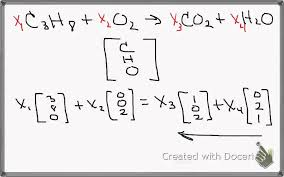 balancing chemical equations with linear algebra