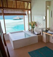 bathroom, Mesmerizing Blue Sea View Seen From Spacious Tropical Bathrooms  With White Bathtub And Beautiful