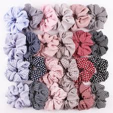 1PC Vintage <b>Scrunchie Stretch</b> Headband Dot Plaid <b>Scrunchies</b> ...