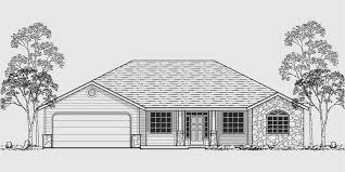house front color elevation view for 10055 single level house plans ranch house plans