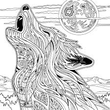 Coloriage Adulte Loup Animaux Yellowstone National Park Dessin
