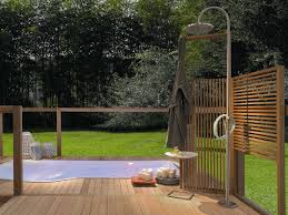 Bathroom:Marvelous Outdoor Shower Design With Chrome Standing Head Shower  Also Wooden Decking Plus Railing