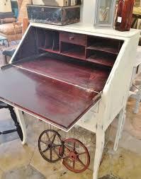 classic antique black finish fold down secretary desk with hutch
