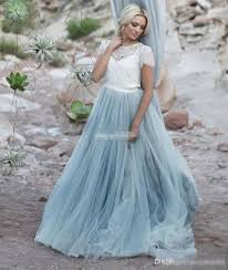discount light blue wedding dresses white lace sheer detachable