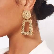 Zara Golden Raised Design Earrings Gold Statement Raised Design Earrings Square Depop