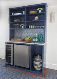 blue bar shelves with stainless steel mini fridge