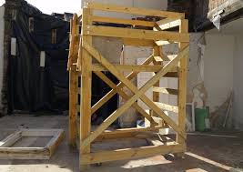 picture of wooden scaffolding tower