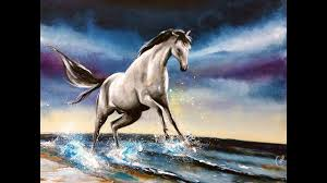 watercolor white horse painting demonstration