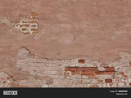 Vintage Red Plaster Wall With Cracked Surface Horizontal Empty - Plastering exterior walls