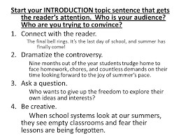 persuasive essay state your position how to write an effective  start your introduction topic sentence that gets the reader s attention