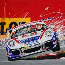 warren luff porsche carrera cup car painting by australian artist merry sparks
