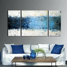 >overstock wall art hand painted abstract 3 piece gallery wrapped  overstock wall art wall art overstock canvas art large wall art for living room relaxing blue overstock wall art