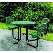 ada expanded metal round picnic table with chairs
