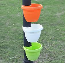 Mrgarden Lamp Post Hanging Planter Post Planter Garden Decor Plastic Flowerpot Ud7xbd4xh55 White