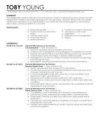 Maintenance Technician Resume Amazing 8321 General Maintenance Technician Resume Examples Free To Try Today