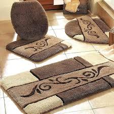 brown bath rugs bathroom set rug vintage mat dark home 3 piece peach patterned