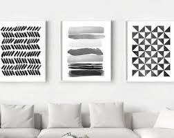 abstract watercolor prints set of 3 geometric wall art stripes triangles brushstrokes dots minimalist art black white wall art home decor on black white wall art deco with black white wall art etsy