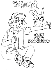 Small Picture Ash and Pikachu pokemon coloring pages