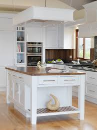 Furniture. Alluring rectangle shape white wooden kitchen island with display  shelf with brown color granite