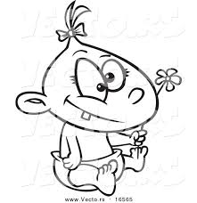 Small Picture Vector of a Cartoon Baby Girl Holding a Flower Outlined Coloring