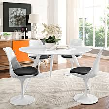 modway furniture lippa 54 inch round wood top dining table with tripod base in white